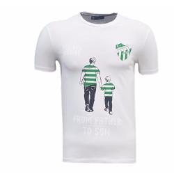 - Çocuk T-Shirt 0 Yaka Babadan Oğula Beyaz
