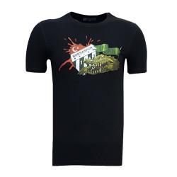 - Çocuk T-Shirt 0 Yaka Timsah Logo Siyah
