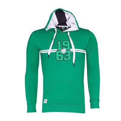 Sweat Kapşonlu Çizgili Logo Yeşil