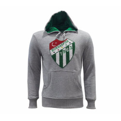 - Sweat Kapşonlu Logo Gri