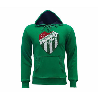 Sweat Kapşonlu Logo Yeşil