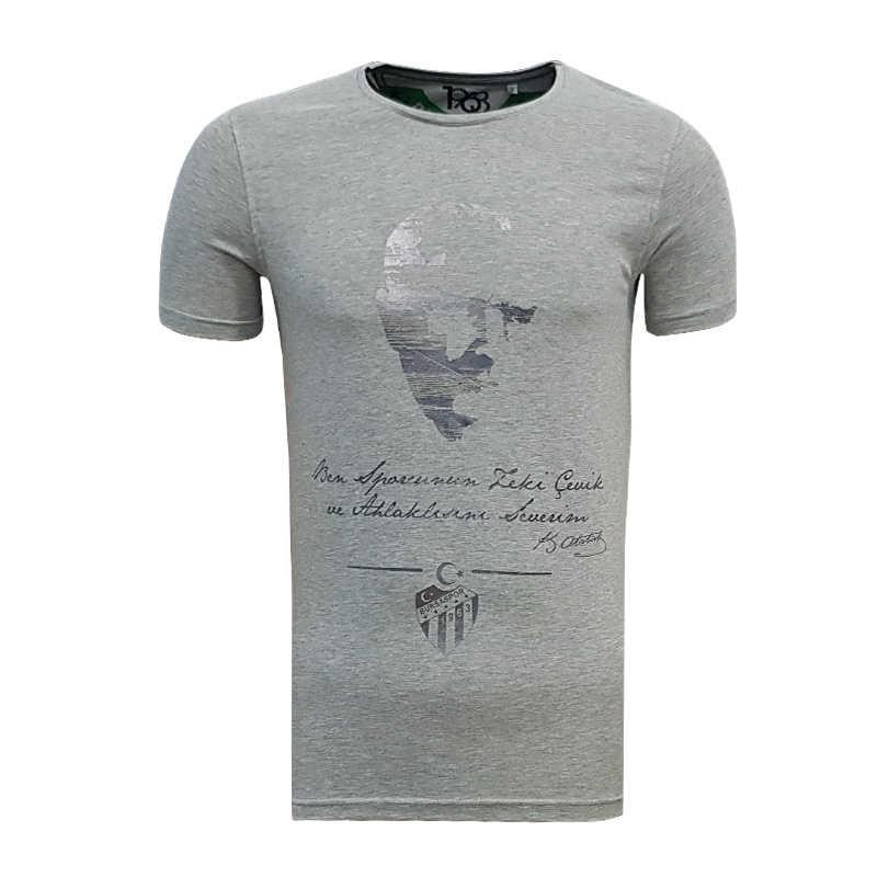 - T-Shirt 0 Yaka Atatürk Gri