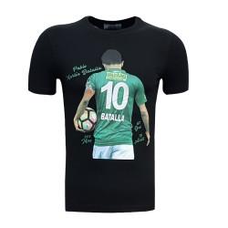 - T-Shirt 0 Yaka Batalla Resim Siyah