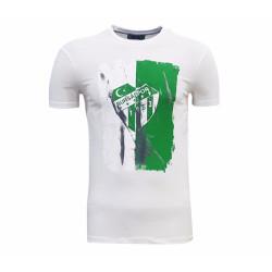 - T-Shirt 0 Yaka Beyaz Parçalı Logo