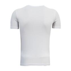 3TSHIRT90TL - T-Shirt 0 Yaka Bs Çizgili Beyaz (1)
