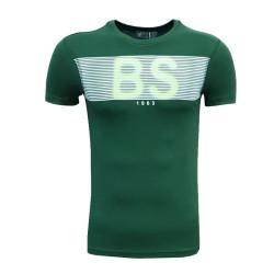 - T-Shirt 0 Yaka Bs Çizgili Yeşil