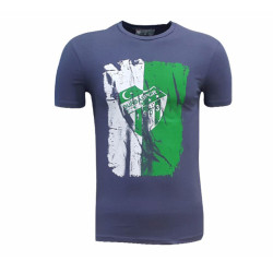 - T-Shirt 0 Yaka Füme Parçalı Logo