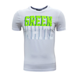 - T-Shirt 0 Yaka Green White Beyaz
