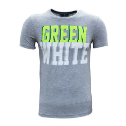 - T-Shirt 0 Yaka Green White Gri