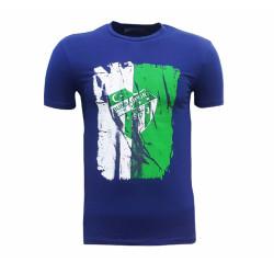 - T-Shirt 0 Yaka Lacivert Parçalı Logo