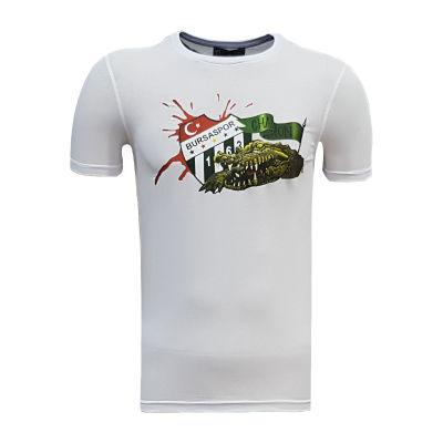 T-Shirt 0 Yaka Timsah Logo Beyaz