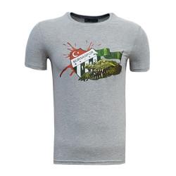 - T-Shirt 0 Yaka Timsah Logo Gri
