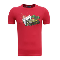 3TSHIRT90TL - T-Shirt 0 Yaka Timsah Logo Kırmızı