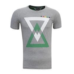 - T-Shirt 0 Yaka Üçgen 5 Yıldız Gri