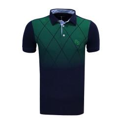 - T-Shirt Polo Yaka Baklava Yeşil Lacivert