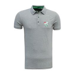 - T-Shirt Polo Yaka Logo Gri