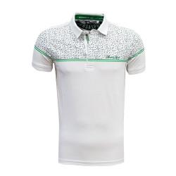 - T-Shirt Polo Yaka Noktalı Beyaz