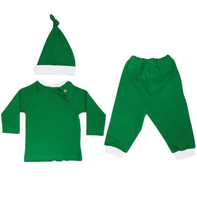 Bebek 3`Lü Şapkalı Çizgili Logo Takım