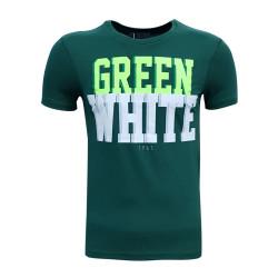 - Çocuk T-Shirt 0 Yaka Green White Yeşil