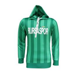 BURSASTORE - Sweat Kapşonlu Çubuklu Yeşil