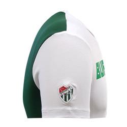 T-Shirt 0 Yaka Bursaspor Est Beyaz Yeşil - Thumbnail