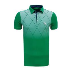 - T-Shirt Polo Yaka Baklava Yeşil Beyaz