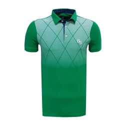 BURSASTORE - T-Shirt Polo Yaka Baklava Yeşil Beyaz