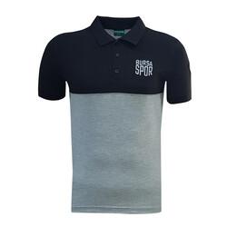 - T-Shirt Polo Yaka Bursaspor Siyah Gri