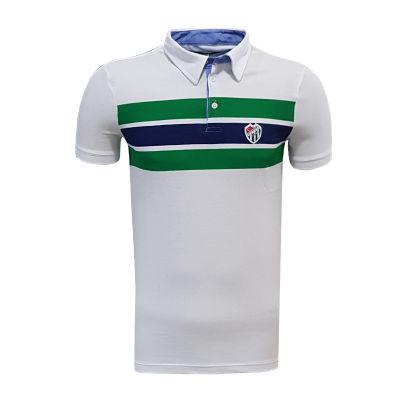 T-Shirt Polo Yaka Çizgili Beyaz