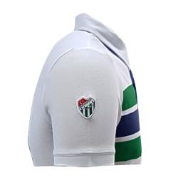 T-Shirt Polo Yaka Çizgili Beyaz - Thumbnail