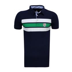 - T-Shirt Polo Yaka Çizgili Lacivert