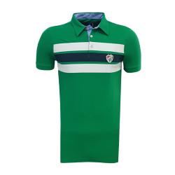 - T-Shirt Polo Yaka Çizgili Yeşil