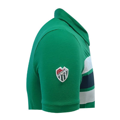 T-Shirt Polo Yaka Çizgili Yeşil